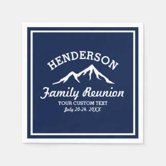 Vintage Family Reunion Trip Navy Blue Mountain Paper Napkin