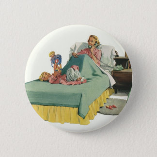 Vintage Family Serving Mom Breakfast in Bed Button