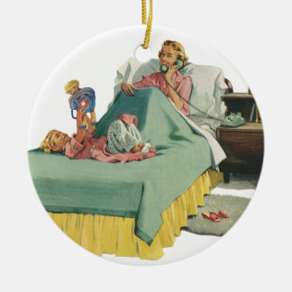 Vintage Family Serving Mom Breakfast in Bed Ceramic Ornament