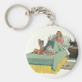 Vintage Family Serving Mom Breakfast in Bed Keychain