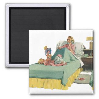 Vintage Family Serving Mom Breakfast in Bed Magnet