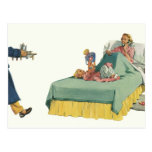 Vintage Family Serving Mom Breakfast in Bed Postcard