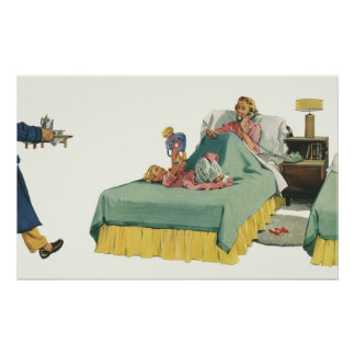 Vintage Family Serving Mom Breakfast in Bed Poster