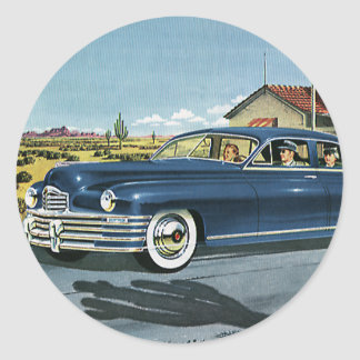 Vintage Family Travel, Last Chance Gas Station Classic Round Sticker