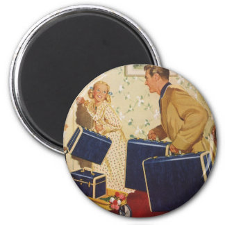 Vintage Family Vacation, Dad Children Suitcases 2 Inch Round Magnet