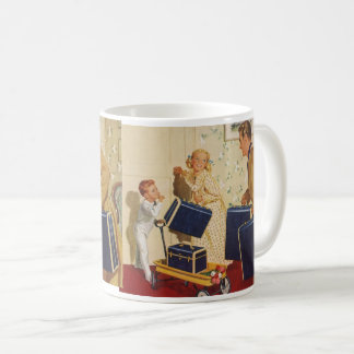Vintage Family Vacation, Dad Children Suitcases Coffee Mug