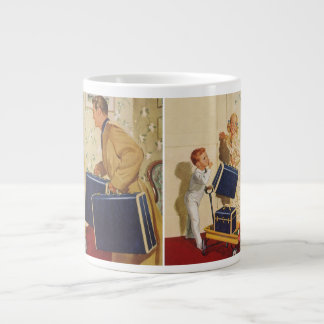 Vintage Family Vacation, Dad Children Suitcases Giant Coffee Mug