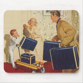 Vintage Family Vacation, Dad Children Suitcases Mouse Pad