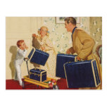 Vintage Family Vacation, Dad Children Suitcases Postcard