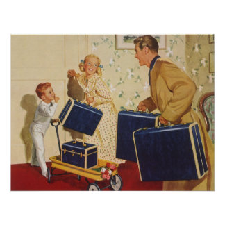 Vintage Family Vacation, Dad Children Suitcases Poster