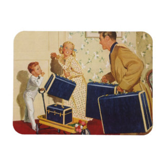 Vintage Family Vacation, Dad Children Suitcases Rectangular Photo Magnet