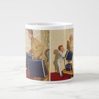Vintage Family Vacation, Dad Children Suitcases 20 Oz Large Ceramic Coffee Mug