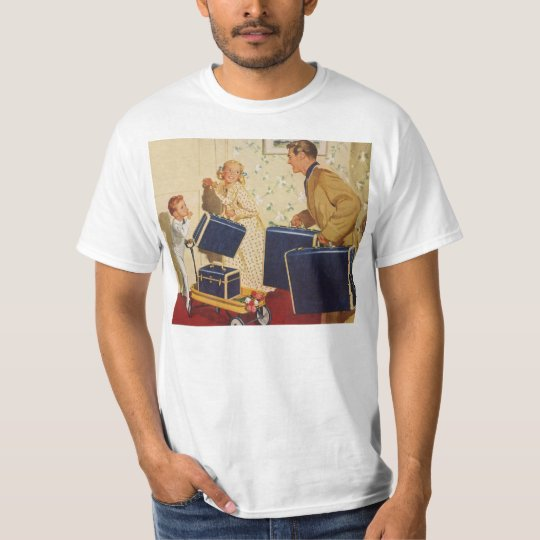 Vintage Family Vacation, Dad Children Suitcases T-Shirt