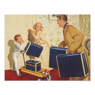 Vintage Family Vacation, Dad, Kids and Suitcases Card