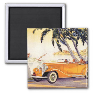 Vintage Family Vacation in a Convertible Car 2 Inch Square Magnet