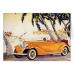 Vintage Family Vacation in a Convertible Car Greeting Card