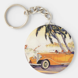 Vintage Family Vacation in a Convertible Car Keychain