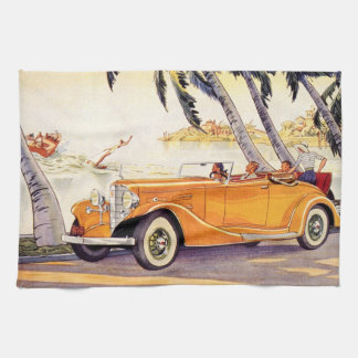 Vintage Family Vacation in a Convertible Car Kitchen Towel