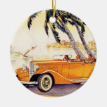 Vintage Family Vacation in a Convertible Car Double-Sided Ceramic Round Christmas Ornament
