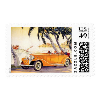 Vintage Family Vacation in a Convertible Car Postage