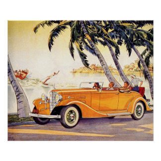 Vintage Family Vacation in a Convertible Car Poster