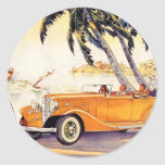 Vintage Family Vacation in a Convertible Car Sticker