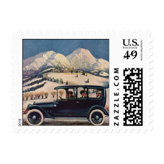 Vintage Family Vacation in Antique Automobile Car Postage