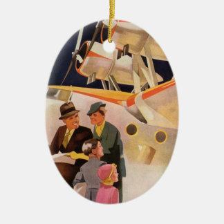 Vintage Family Vacation Via Seaplane w Propellers Ceramic Ornament