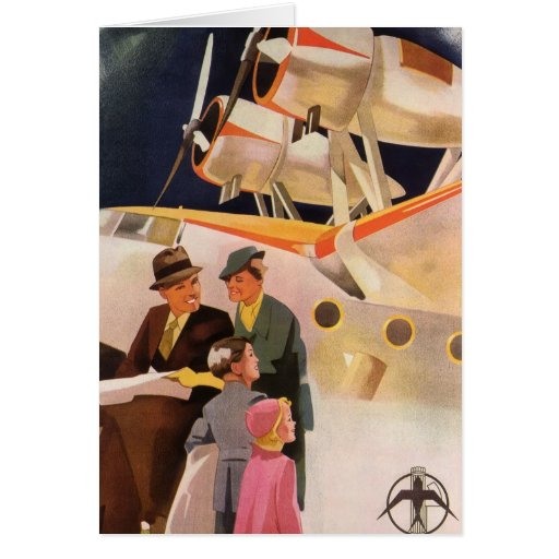 Vintage Family Vacation Via Seaplane w Propellers Greeting Card