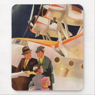 Vintage Family Vacation Via Seaplane w Propellers Mouse Pad