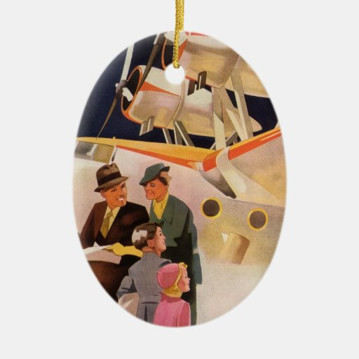 Vintage Family Vacation Via Seaplane w Propellers Double-Sided Oval Ceramic Christmas Ornament
