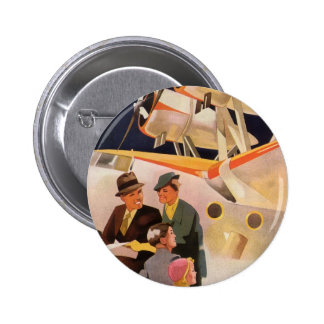 Vintage Family Vacation Via Seaplane w Propellers Pinback Button