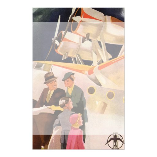 Vintage Family Vacation Via Seaplane w Propellers Customized Stationery