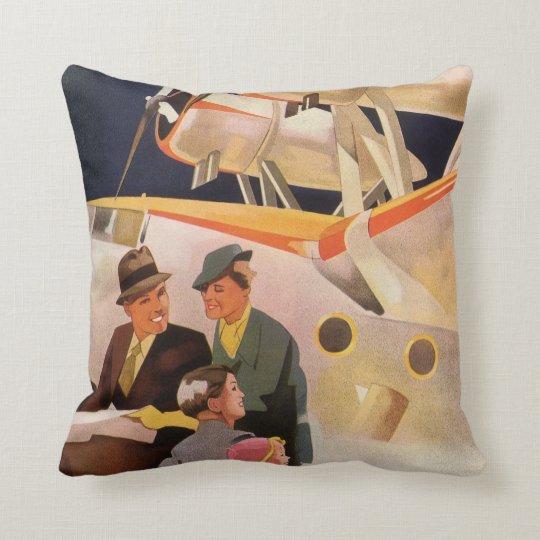 Vintage Family Vacation Via Seaplane w Propellers Throw Pillow