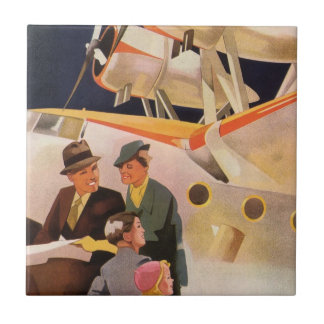 Vintage Family Vacation Via Seaplane w Propellers Tiles