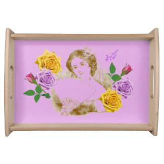 Vintage Fan Lady and Flowers Small Serving Tray