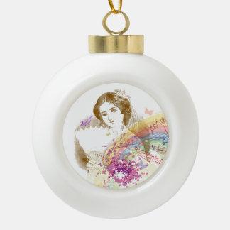 Vintage Fan Lady Ceramic Ornament Ball
