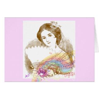 Vintage Fan Lady Music ColorSplash Notecard