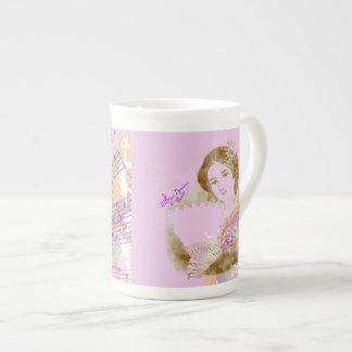 Vintage Fan Lady Pink Bone China Cup