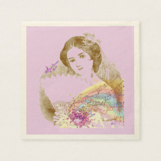 Vintage Fan Lady Pink Ecru Cocktail Paper Napkins
