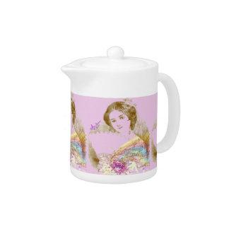 Vintage Fan Lady Pink Small Teapot
