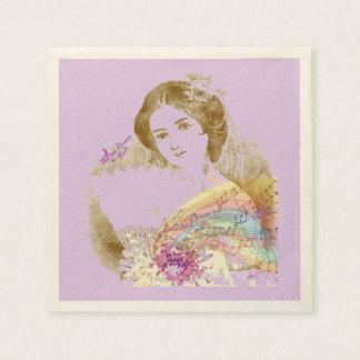 Vintage Fan Lady PurpleEcru Cocktail Paper Napkins