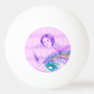 Vintage Fan Lady Sheet Music Ping Pong Ball