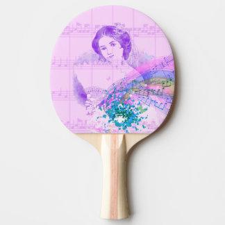 Vintage Fan Lady Sheet Music Ping Pong Paddle