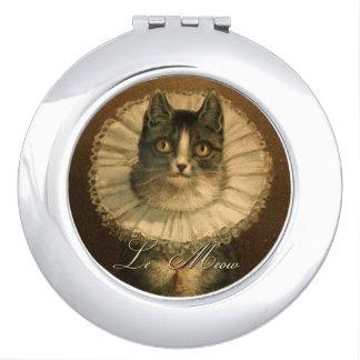 Vintage Fancy Cat in Ruffled Collar Makeup Mirror