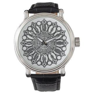 Vintage Fancy Clock Face Black & White Watch
