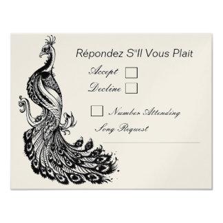 Vintage Fancy in Black RSVP Option 2 Card