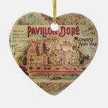 Vintage Fancy Monaco collage Monte Carlo Travel Ceramic Ornament