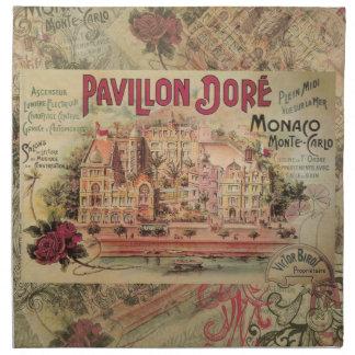 Vintage Fancy Monaco collage Monte Carlo Travel Cloth Napkin