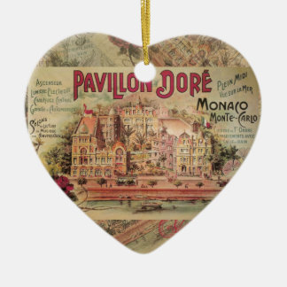 Vintage Fancy Monaco collage Monte Carlo Travel Christmas Ornaments